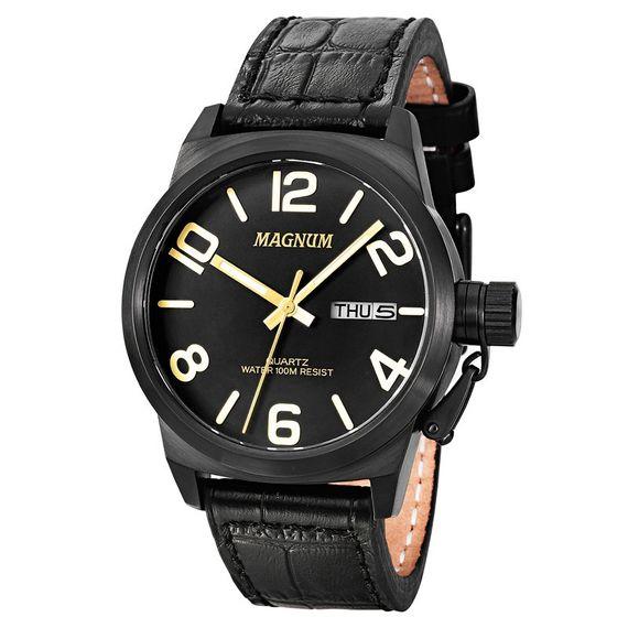 Relógio Magnum Masculino em Couro Preto - MA33399P