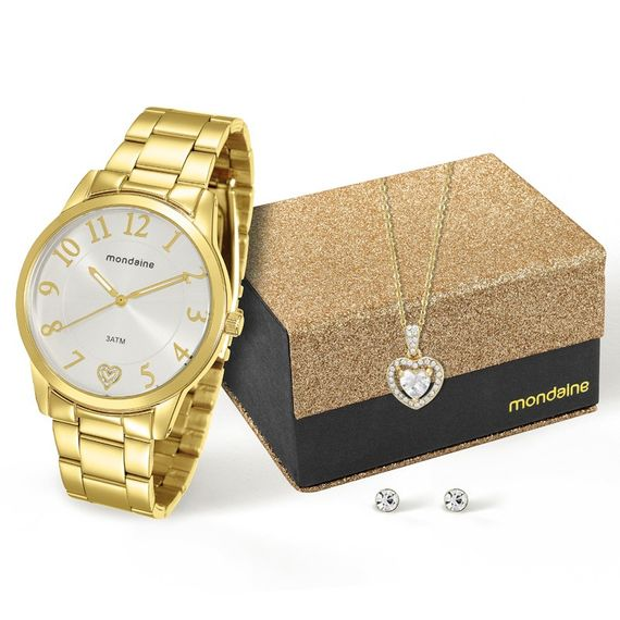 Kit Relógio Mondaine Feminino Dourado - 76538LPMKDE1K1