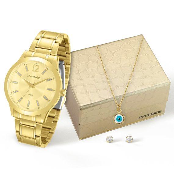Kit Relógio Mondaine Feminino Dourado - 83328LPMKDE1K1