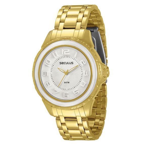 Relógio Mondaine Feminino Dourado Fundo Branco - 28378LPSVDS1