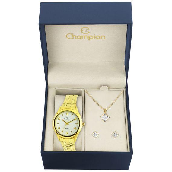 Kit Relógio Champion Feminino Dourada - CA21722W