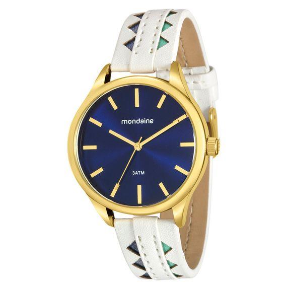 Relógio Mondaine Feminino com Couro Branco Azul e Verde - 76670LPMVDH3