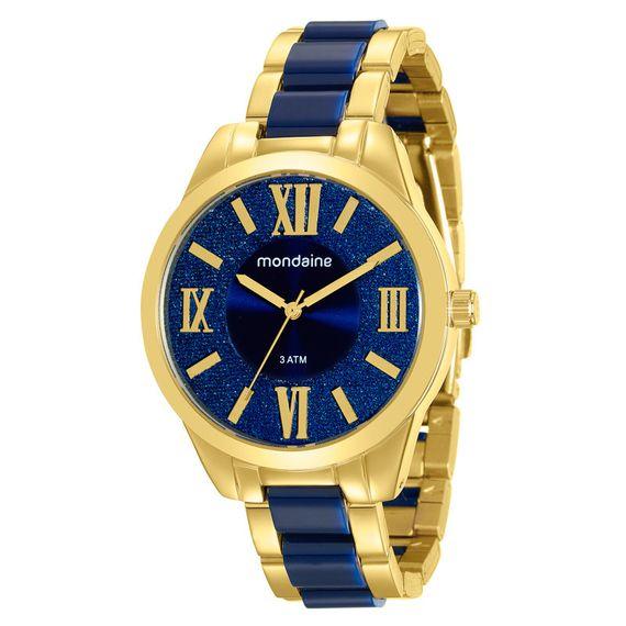 Relógio Mondaine Feminino Dourado com Faixa Azul - 76682LPMVDE1