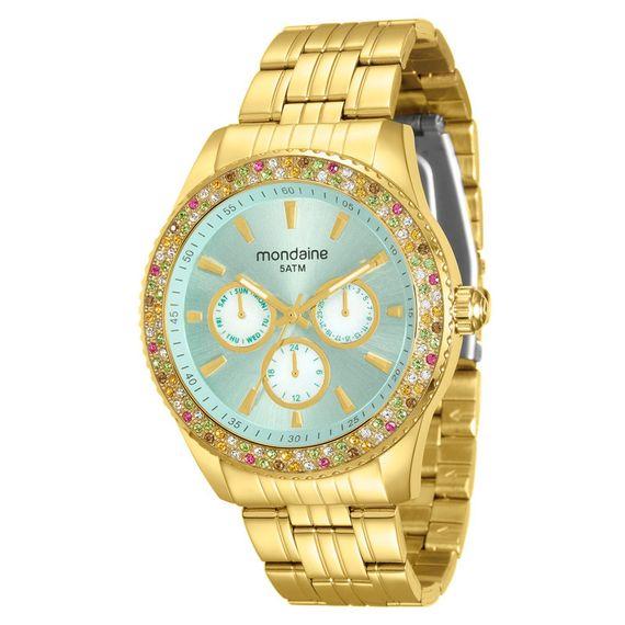 Relógio Mondaine Feminino Dourado com Pedras Coloridas - 78731LPMVDA2