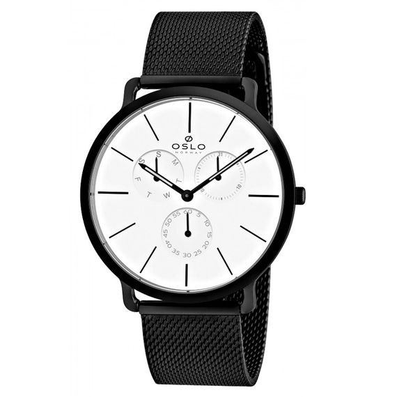 Relógio Oslo Masculino Preto com Branco - OMPSSMVD0001