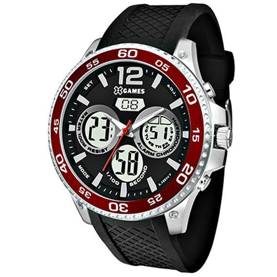 Relógio X-Games Masculino Prata com Vermelho - XMSPA023