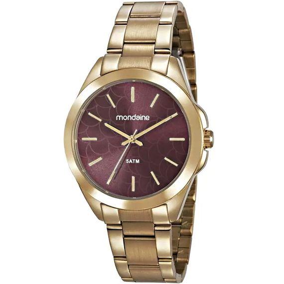 Relógio Mondaine Dourado com Vinho - 78750LPMVDA2