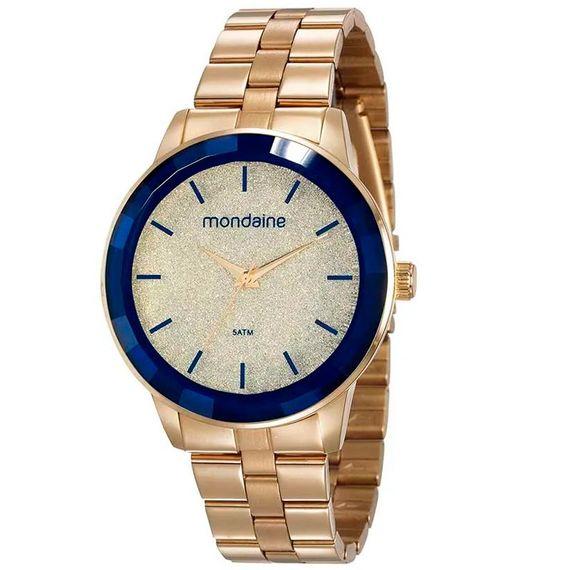 Relógio Glitter Vidro Facetado Dourado - 53710LPMVDE2
