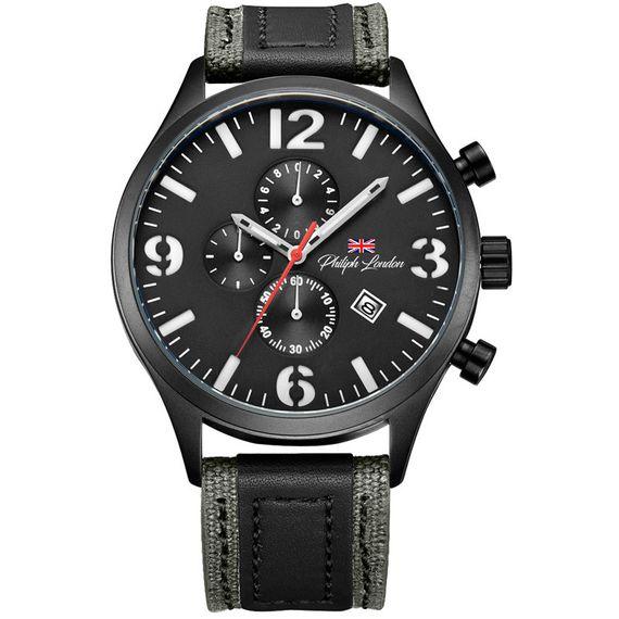 Relógio Philiph London Cronógrafo Black - PL80055612M PR