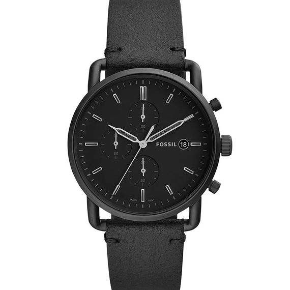 Relógio Fossil Masculino Preto e Pulseira de Couro - FS5504/0PN
