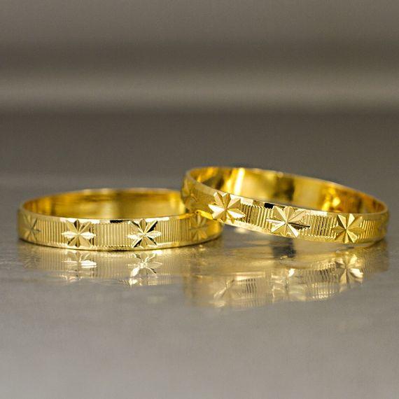 Aliança de Ouro Trabalhada - AS0033 Tamanho: 10