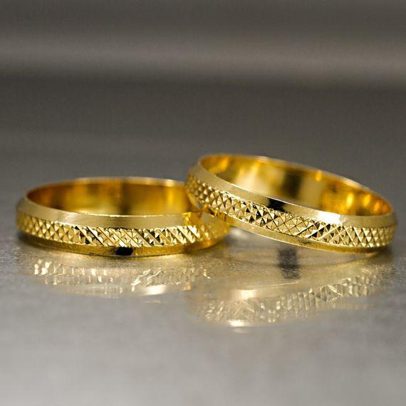 Aliança de Bodas de Ouro com Filete Diamantado - AS0102 Tamanho: 09