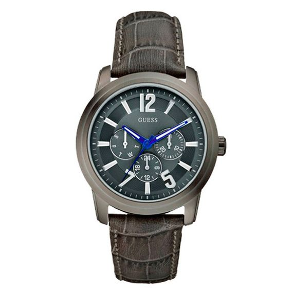 Relógio Guess Masculino em Couro Cinza Grafite - 92449GPGDSC1