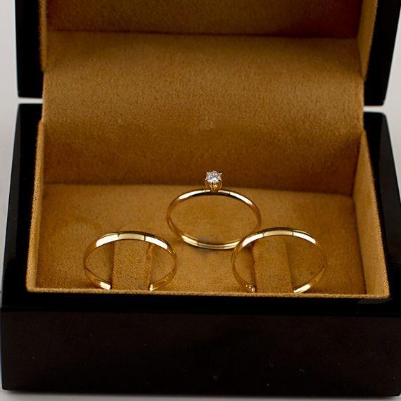 Kit Alianças de Casamento + Anel de Noivado - AS0788