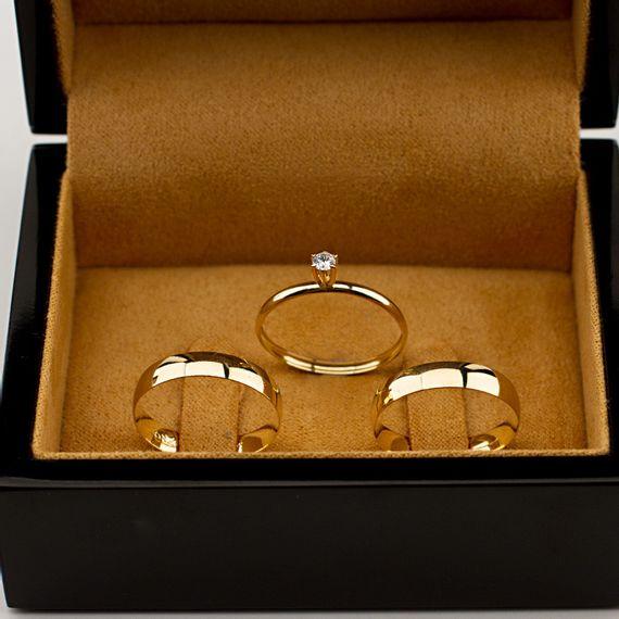 Kit Alianças de Casamento + Anel de Noivado - AS0789