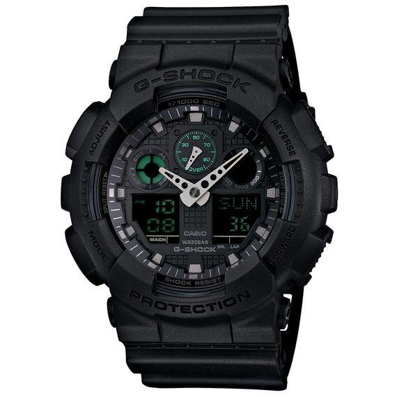 Relógio Casio G-SHOCK Resina Preta e Detalhes Verdes - GA-100MB-1ADR