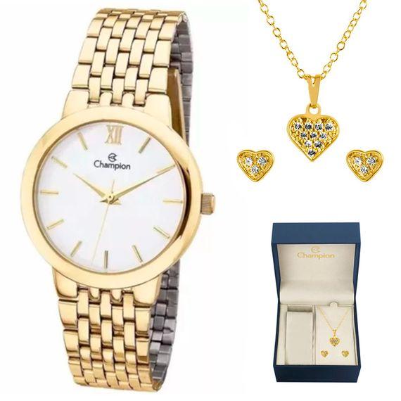 Kit Relógio Feminino Analógico Dourado Champion -CH22091W