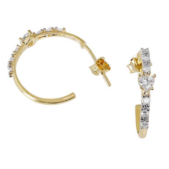Brinco de Prata com Banho de Ouro Meia Argola com Pedras de Zircônia - BR21300