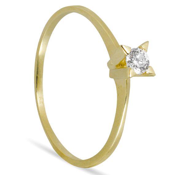 Anel Solitário Ouro 10K 4 Garras com Zirconia - AN21424
