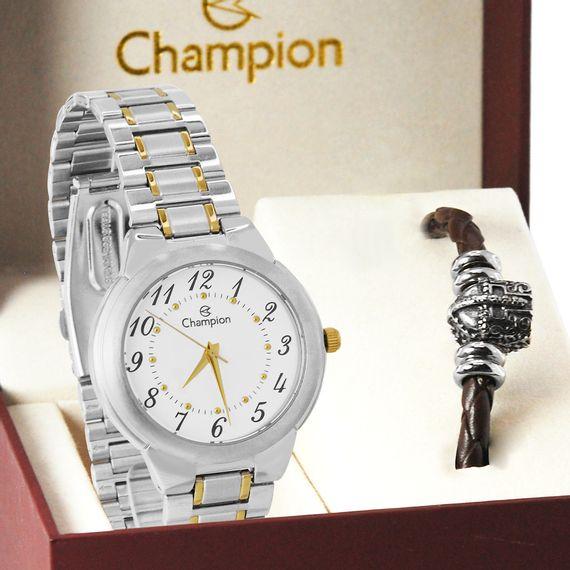 Kit Relógio Champion Feminino Prata e Dourado - CH22368I